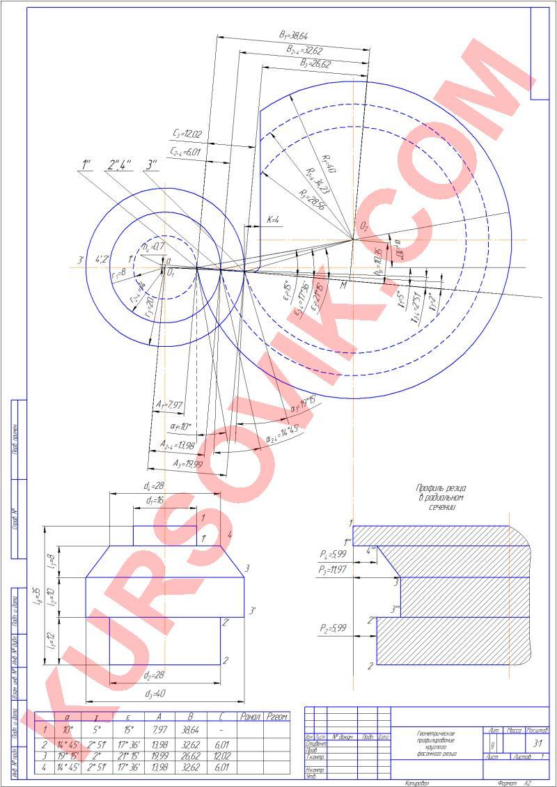 Спроектировать в КОМПАС 3D круглый фасонный резец (режущий инструмент)