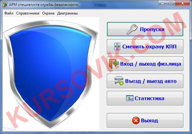 АРМ охранника проходной (АРМ специалиста службы безопасности КПП) (SQL Server или Access)