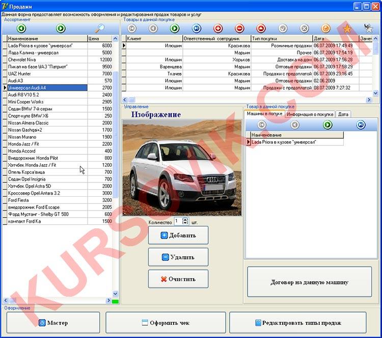автомашины автосалон ОКУД АИС delphi access ado SQL Server