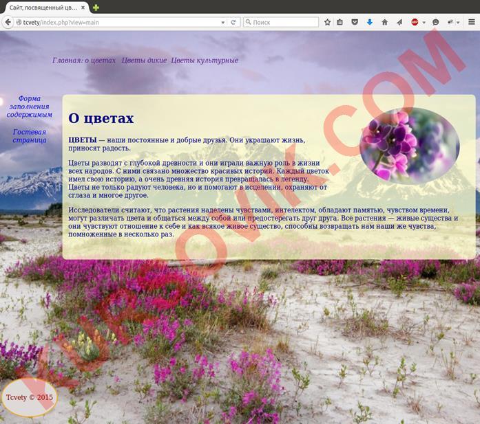 "Web-сайт на тему ""Цветы"""
